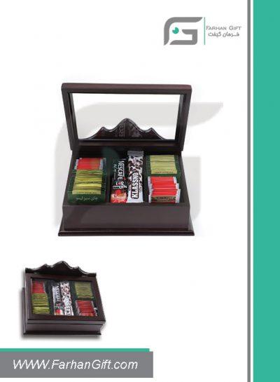 جعبه پذیرایی چوبی 701 Tea box-هدیه تبلیغاتی چوبی