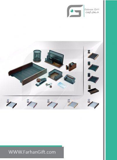 ست رومیزی کارمندی 9تکه Employee Desktop Set Wood and metal-هدایای تبلیغاتی فرهان گیفت